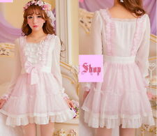 Japan Fashion Princess Cute Kawaii Lolita Slim Floral Lace dress Onepiece
