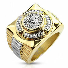 Mens Gold Color Stainless Steel Ring. Heavy, rugged design. New Item, Sizes 9-14