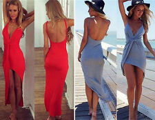 2015 Women Sexy Deep V-Neck Backless Summer Casual Sundress Beach Long Dress