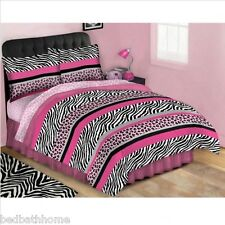 NEW Girls Pink Jungle Queen Bed in a Bag - Complete Comforter Set - Twin or Full