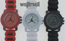 MEN'S ICED OUT MICHAEL JORDAN AIR JUMP WATCH W.BULLET BAND BLACK WHITE & RED