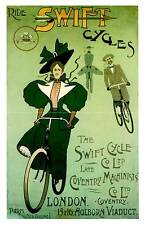 Swift Cycles , Old Cycling advertising wall art poster reproduction.