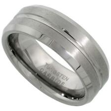 8MM Tungsten Carbide Wedding Band Ring Grooved Center Beveled Edges Size 7-14