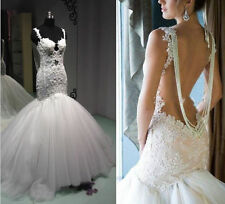 Custom made Vintage Lace Mermaid Sexy Backless Wedding Dresses Bead Bridal Gowns
