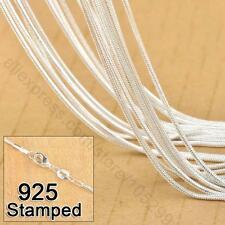 "WS wholesale Lots 5pcs 925 Sterling Silver 1.2mm Snake Chain Necklace 16""-30"""