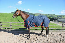 medium weight turnout rug horse/pony 200gsm insulated fill navy/red bindings