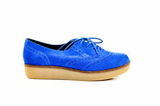 New Bonbons Shoes Preppy Blue Suede Leather Lace Up Platform Flatform Creepers