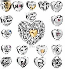 925 Sterling Silver Heart Charm Footprints Fit 3mm European heart Charm Bracelet
