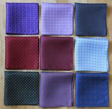 HAND PRINTED SILK POCKET SQUARE HANDKERCHIEFS. HAND MADE NEW
