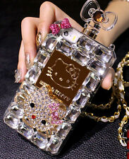 Perfume Bottle Crystal Bling Hello Kitty Chain TPU Case Cover forIPhone Samsung