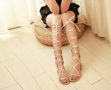 2015Summer Fashion Strappy Knee High Boots Open Toe Gladiator Flat Sandals Pumps