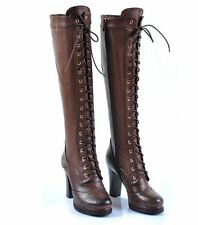 Womens  knee boot gothic wingtip leather zip high heel platform lace up shoes