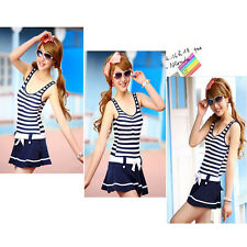 Young Ladies Girls' One-piece Swim Dress Korean Navy Style Stripped Swimsuit