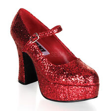 """Sexy Shoes 4"""" Chunky Heels Red Glitter Sparkle Platform Costume Mary Janes"""