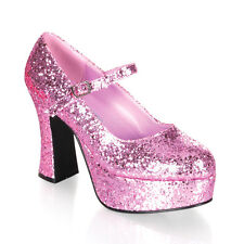 """Sexy Shoes Sparkle Baby Pink Glitter Platform 4"""" Heel Costume Mary Janes"""