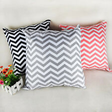 Wave Pattern Linen Sofa Cotton Cushion Cover Home Decor Throw Pillow  Case New