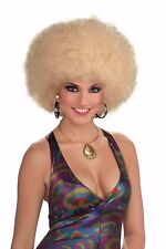 Womens Blonde Afro Wig 60s 70s Costume Pouf Fro Frizzy Hair Halloween Adult NEW