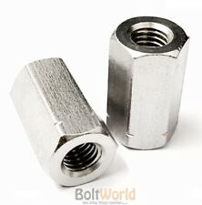 M5 M6 M8 M10 M20 A2 STAINLESS STEEL THREADED ROD BAR STUD HEX HEXAGON CONNECTOR
