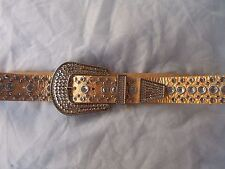 New Women's Ohh Ashley Western Buckle Leather Belt Crystals/Studs Antique Gold
