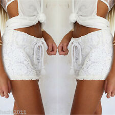 UK 8-18 Plus Womens Ladies White Broderie Floral Denim Lace Shorts Elastic Pants