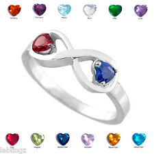 Sterling Silver Infinity Dual Heart CZ Birthstone Ring (Size 8)