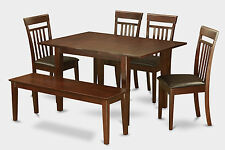6 Piece dinette set for small spaces-kitchen table and 4 dining chairs and Bench
