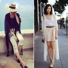 New Women Vintage Chiffon Lace Kimono Cardigan Tassels Maxi Jacket Blouse Tops