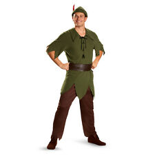 Mens Peter Pan Costume Green Fancy Dress Halloween Outfit Disney Adult Size NEW
