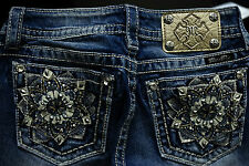 "$112 MISS ME ""SUN FLOWER POCKETS"" W/ LEATHER INSERTS & SEQUINS BOOT CUT"