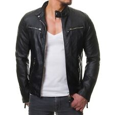 3Eleven 678 Biker Jacke Gesteppt Schwarz Slim Fit PU Lederjacke Stepp Club Party