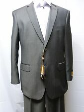 Bertolini Men's Two Button Suit, Two Button, Silk/Wool Blend Gray Stripe-NWT