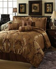 BEAUTIFUL RICH & ELEGANT 7 PC BROWN GOLD COMFORTER SET - QUEEN & KING size