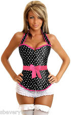 Womens Sexy Rockabilly Polka Dot Pin-UP Corset Lace Up Back Piping Bow Small-6X
