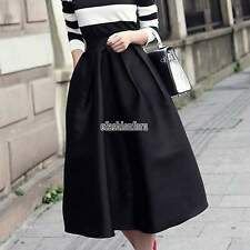Women' s Solid A-Line Flare MIDI Skirt Mid Length Waist High Waist Dress S M L