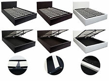 4ft6 Double Size Ottoman Gas lift up Storage bed in Black, Brown and White