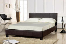 4ft6 Faux Leather Double Bed Frame in Black/Brown/White Prado Modern Design