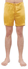 MENS GOLD CLASSIC SILK SLEEP SHORTS BOXING SHORTS SLEEPWEAR LOUNGE WEAR