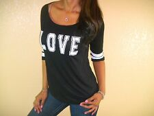 SEXY BLACK WHITE LOVE FOOTBALL SPORTY LOOSE FLOATY FIGURE FLATTERING TOP BK108