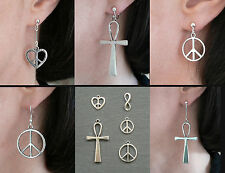 Peace Love Heart Ankh Silver Earrings Fishhook Stud Clip-on BoHo Festival Gift