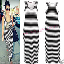 NEW WOMENS LADIES CELEBS INSPIRED STRIPED RACER BACK BODYCON MAXI DRESSES 8/14