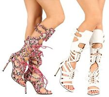 White Pink Floral Lace up Knee high Boots Open toe Gladiator Sandal Women's Heel