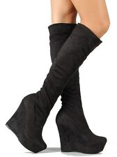 Black Suede Stretchy Wedge Heel Round Toe Platform Knee high Boot Women's Shoes