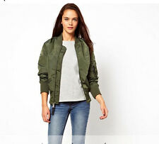 New 2015 Womens Army Green Flying Bomber Jacket With Zipper Decpration Outerwear