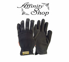 3x Contego Black Rigger Synthetic Leather Work Gloves Mechanics PPE Glove P8175