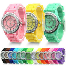 Geneva Fashion Crystal Jelly Gel Silicon Girl Women's Quartz Wrist Watch Sale