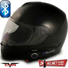 VCAN V136B BLUETOOTH GLOSSY BLACK SOLID FULL FACE MOTORCYCLE HELMET DOT XS - XL