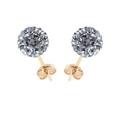 14K Yellow Gold Swarovski Elements Crystal Provence Lavender Ball Stud Earring