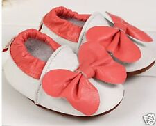 Baby Toddler Leather Soft Soled Shoes Girls White Pink Bow New