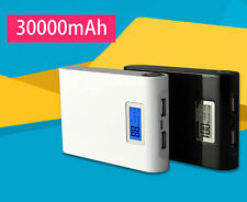 30000mAh External 2-USB Power Bank Mobile Battery LCD Charger For Samsung Iphone