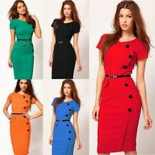 2015 New Formal Work Women button Split Wiggle Pencil Bodycon Summer Tunic Dress